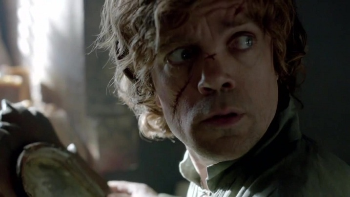 Tyrion. Presumably checking for the Grim Reaper creeping up on him.